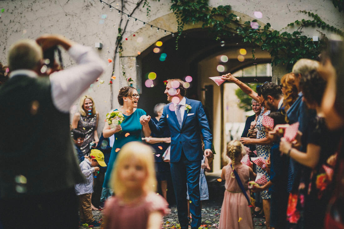 Sektempfang in der Prisco-Passage - Hochzeitsfotograf Dresden