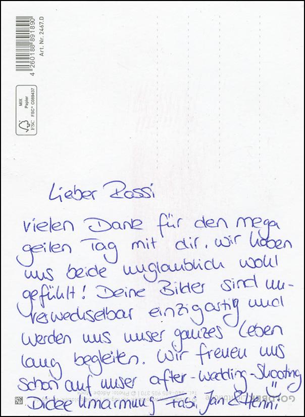 """Dankeskarte Hochzeitsfotograf Rossi Photography * Event-Scheune """"Blauer Löwe"""" Landhotel Waldhaus Laubach"""