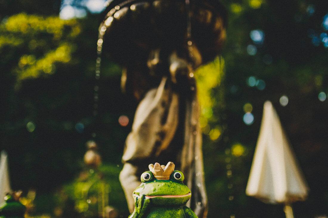froschfigur am schönen brunnen beim zuckerbergschloss - hochzeitsfotograf schwarzwald
