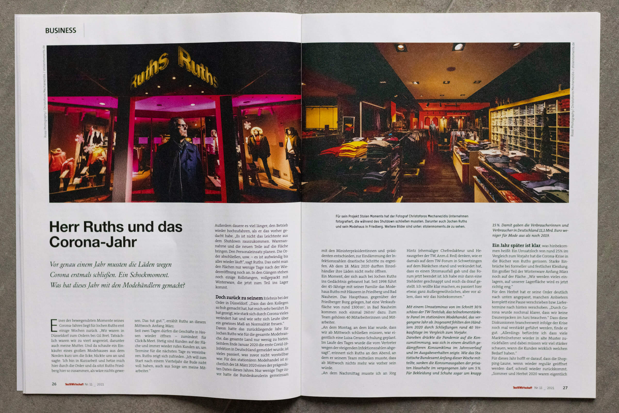 """Artikel über Jochen Ruths im Magazin """"Textilwirtschaft"""" -18. März 2021"""