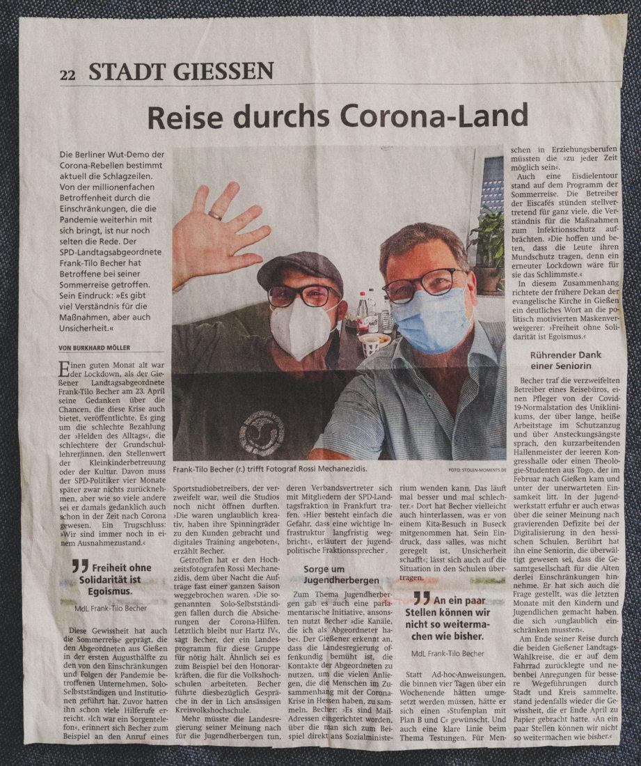 28. August 2021 - Zeitungsartikel Gießener Allgemeine - Frank Tilo Becher